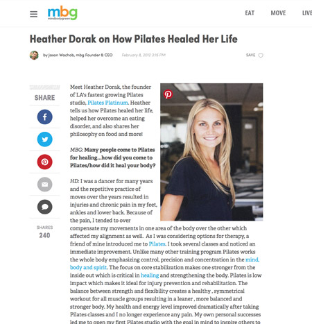 Pilates Platinum on MindBodyGreen.com
