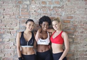 three workout girls hanging out